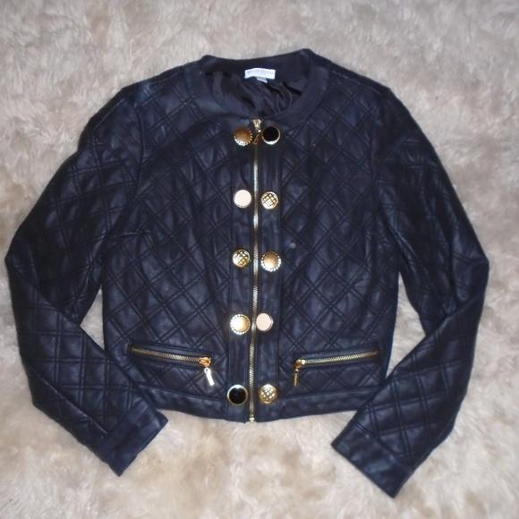 Bisou Bisou Jackets & Blazers - BISOU BISOU MICHELE BOHBOT ~ FAUX LEATHER JACKET~M